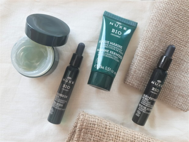Nuxe Organic serum, moisturiser, mask and oil